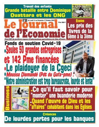 Couverture du Journal LE JOURNAL DE L'ÉCONOMIE N° 590 du 12/10/2020