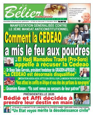 Couverture du Journal LE BÉLIER INTRÉPIDE N° 436 du 21/10/2020