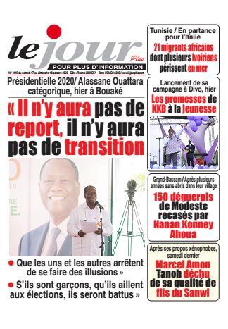 Couverture du Journal LE JOUR PLUS N° 4449 du 17/10/2020