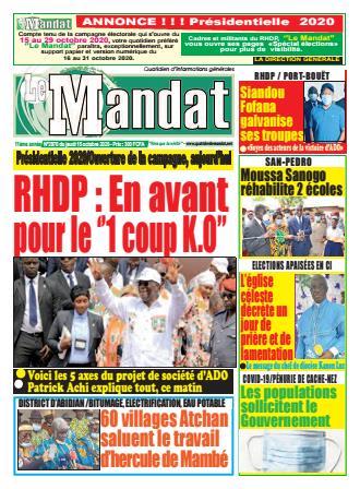 Couverture du Journal LE MANDAT N° 2970 du 15/10/2020