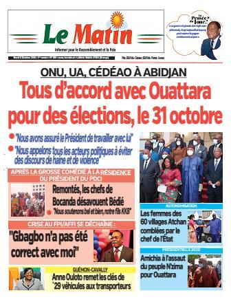 Couverture du Journal LE MATIN N° 359 du 06/10/2020