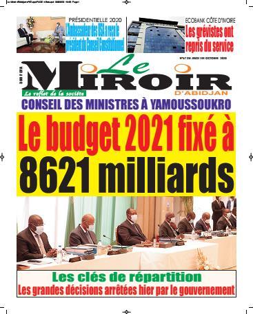 Couverture du Journal LE MIROIR D'ABIDJAN N° 69 du 01/10/2020