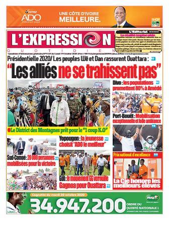 Couverture du Journal L'EXPRESSION N° 3145 du 19/10/2020