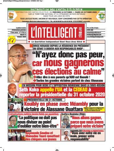 Couverture du Journal L'INTELLIGENT D'ABIDJAN N° 4735 du 13/10/2020