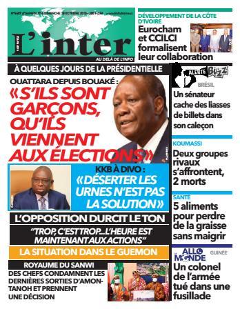 Couverture du Journal L'INTER N° 6687 du 17/10/2020