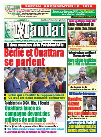Couverture du Journal LE MANDAT N° 2972 du 17/10/2020