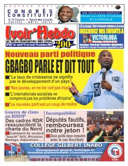 Couverture du Journal IVOIR'HEBDO N° 57 du 12/10/2021