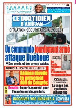 Couverture du Journal LE QUOTIDIEN D'ABIDJAN N° 4038 du 14/10/2021