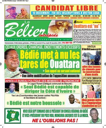 Couverture du Journal LE BÉLIER INTRÉPIDE N° 284 du 21/11/2019