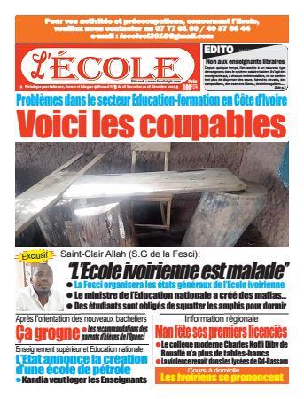 Couverture du Journal L'Ecole N° 11 du 28/11/2019