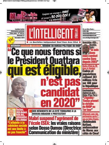 Couverture du Journal L'INTELLIGENT D'ABIDJAN N° 4553 du 27/11/2019
