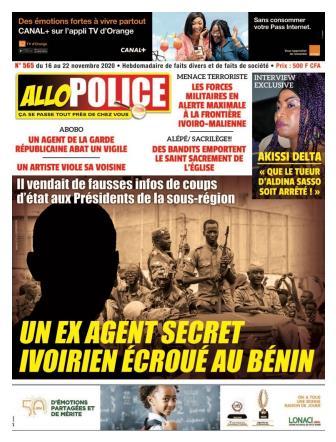 Couverture du Journal ALLO POLICE N° 565 du 16/11/2020