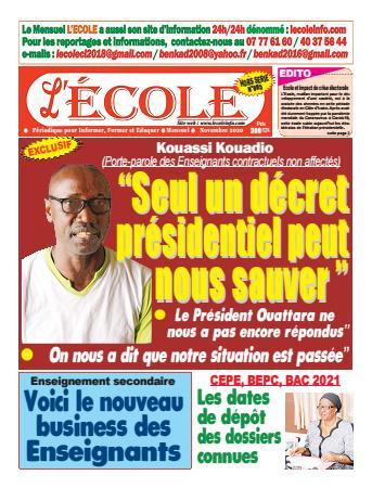 Couverture du Journal L'Ecole N° 5 du 07/11/2020