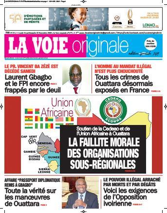 Couverture du Journal LA VOIE ORIGINALE N° 477 du 16/11/2020