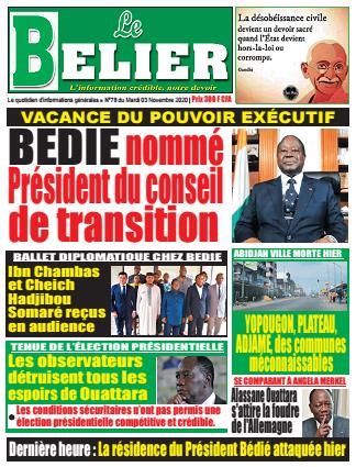 Couverture du Journal LE BELIER N° 79 du 03/11/2020