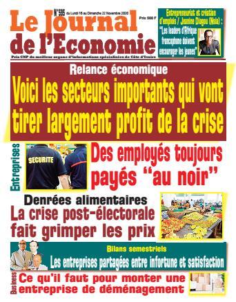 Couverture du Journal LE JOURNAL DE L'ÉCONOMIE N° 595 du 16/11/2020