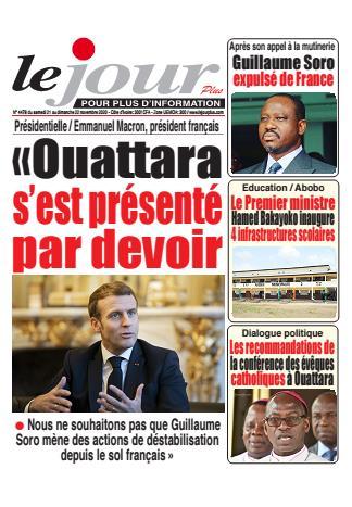 Couverture du Journal LE JOUR PLUS N° 4478 du 21/11/2020