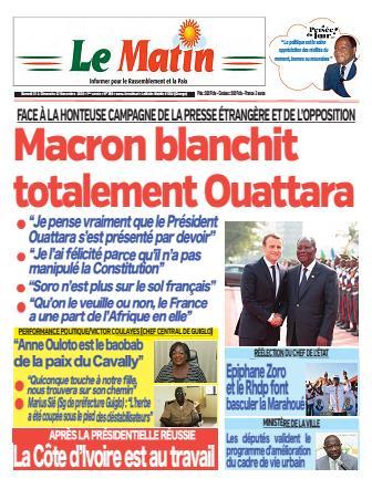 Couverture du Journal LE MATIN N° 398 du 21/11/2020