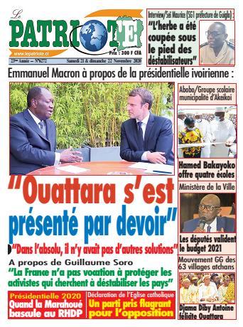 Couverture du Journal LE PATRIOTE N° 6272 du 21/11/2020