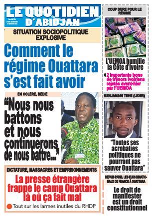 Couverture du Journal LE QUOTIDIEN D'ABIDJAN N° 2971 du 18/11/2020