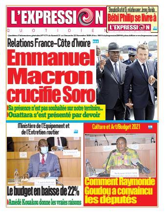 Couverture du Journal L'EXPRESSION N° 3173 du 21/11/2020