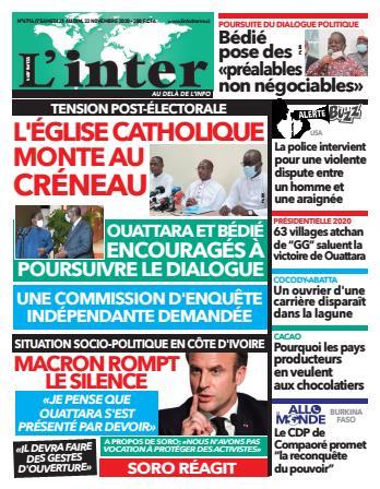 Couverture du Journal L'INTER N° 6716 du 21/11/2020