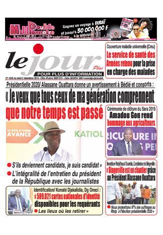 Couverture du Journal LE JOUR PLUS N° 4226 du 02/12/2019