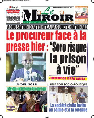 Couverture du Journal LE MIROIR D'ABIDJAN N° 11 du 27/12/2019