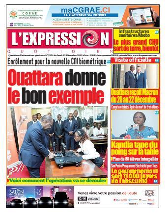 Couverture du Journal L'EXPRESSION N° 2924 du 12/12/2019