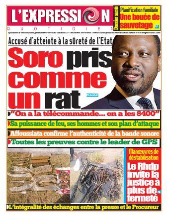 Couverture du Journal L'EXPRESSION N° 2935 du 27/12/2019