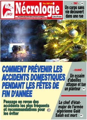 Couverture du Journal NECROLOGIE CÔTE D'IVOIRE N° 132 du 30/12/2019