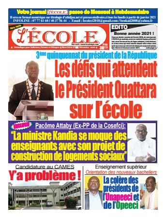 Couverture du Journal L'Ecole N° 6 du 24/12/2020