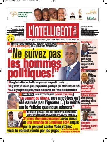 Couverture du Journal L'INTELLIGENT D'ABIDJAN N° 4769 du 04/12/2020